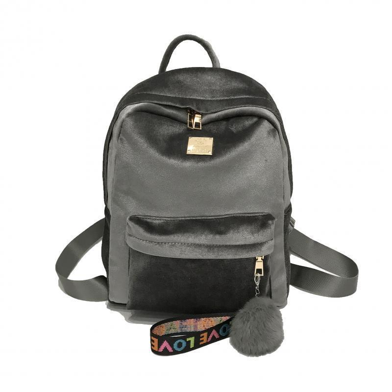 Женский рюкзак серый из ткани бархатный опт