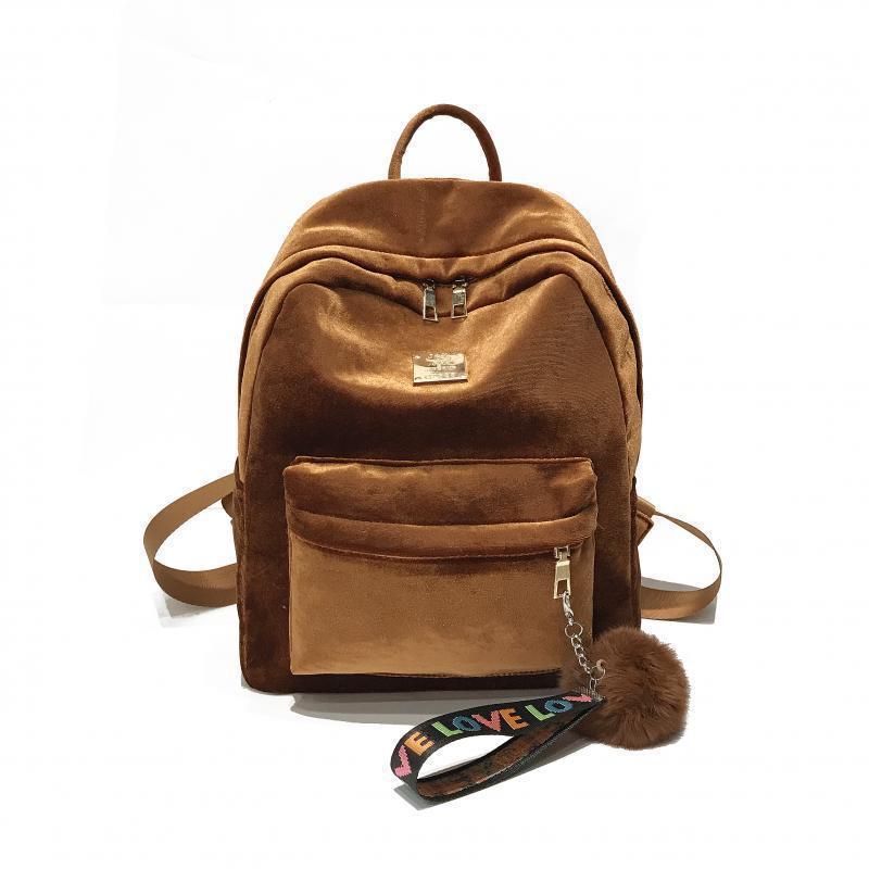 Женский рюкзак коричневый из ткани бархатный опт