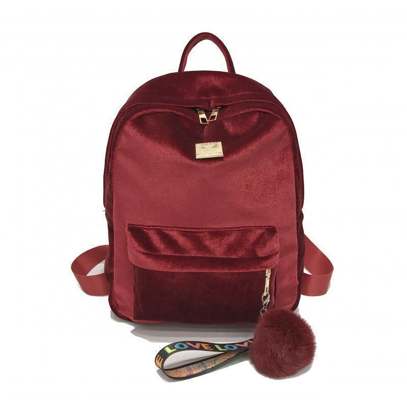 Женский рюкзак из ткани бархатный красный
