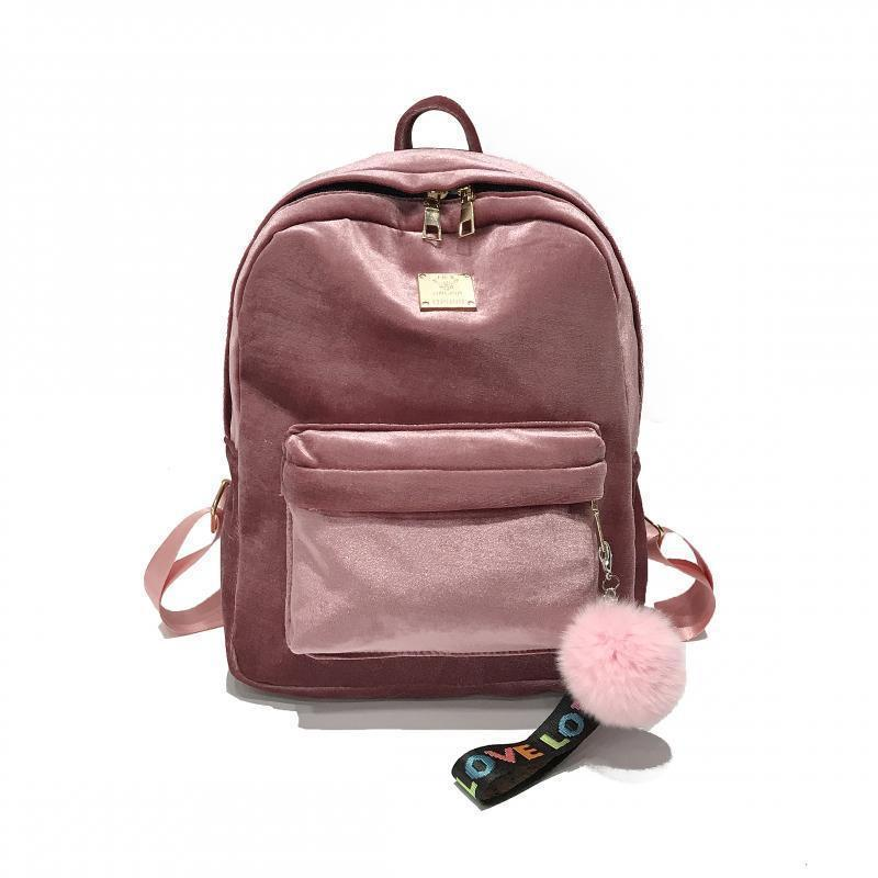 Женский рюкзак из ткани бархатный розовый опт