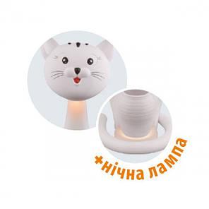 Настільна дитяча лампа з нічником Horoz FELIX 6W у вигляді білого котика, фото 2