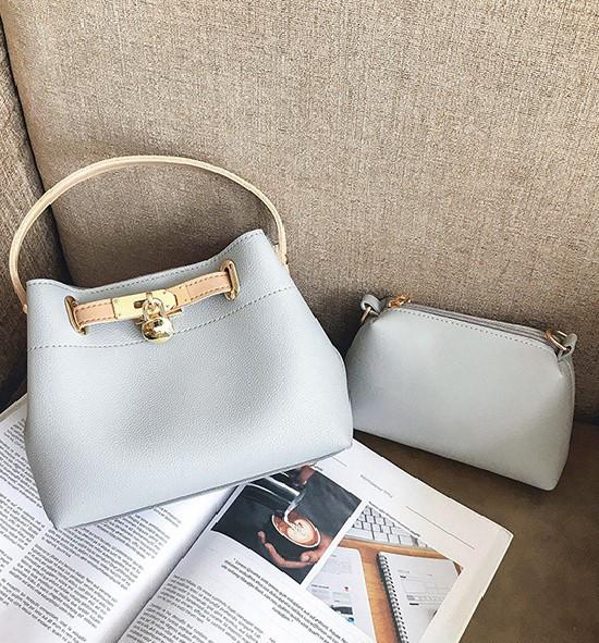 78922731b8ca Женская сумочка среднего размера + сумочка-клатч набор 2в1 серый ...