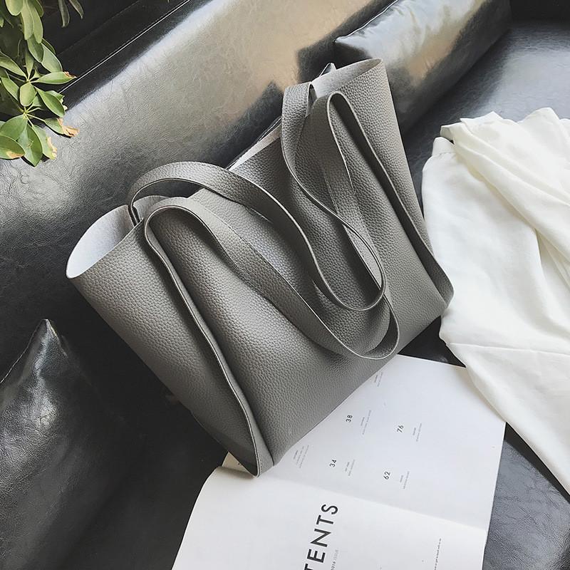 Женская сумка с ручками темно-серая большая опт
