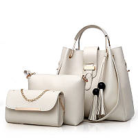 Набор женских сумок 3в1 бежевый из качественной экокожи с косточками