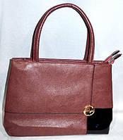 58c0aedb85ab Женская сумка из искусственной кожи(цвет терракот) с лаковой вставкой (2  отдела)