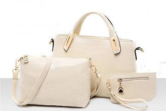 Женская сумка набор 3в1 из экокожи белый