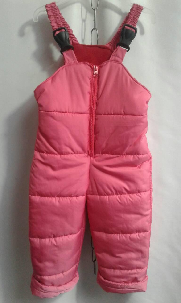 Дитячий теплий комбінезон на бретелях для дівчинки р. 92-116 рожевий