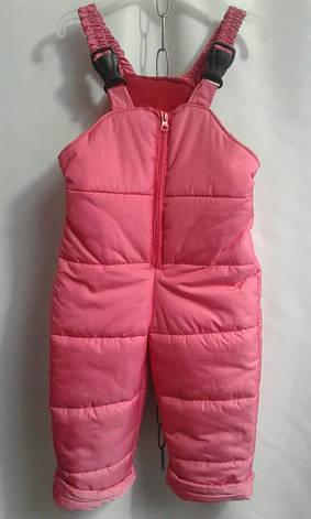Дитячий теплий комбінезон на бретелях для дівчинки р. 92-116 рожевий, фото 2