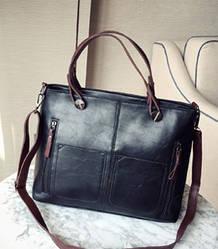 Женская сумка на молнии из экокожи с плечевым ремешком черная