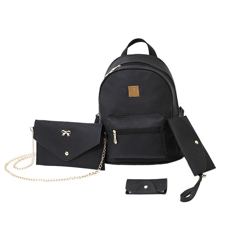 Школьный женский рюкзак черный набор 4в1 из экокожи