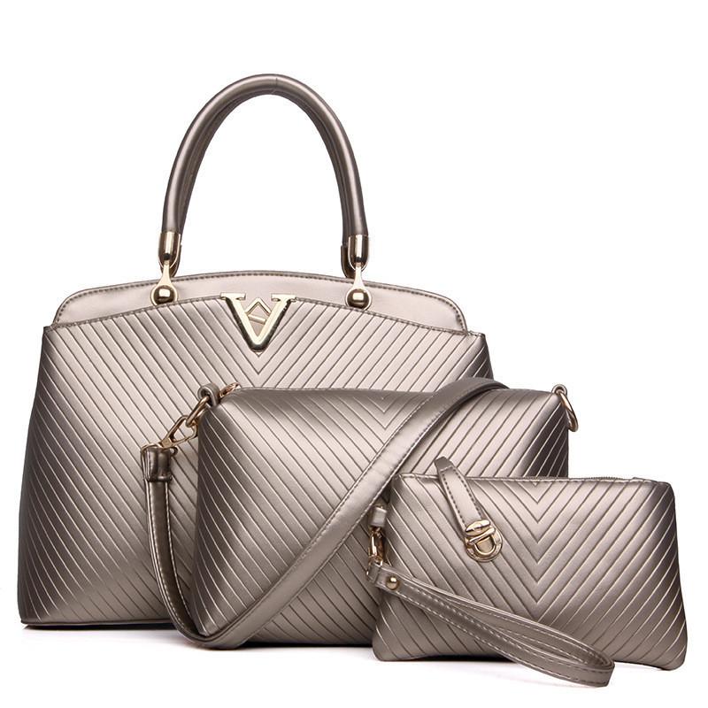 Женская сумка набор 3в1 золотистый из качественной экокожи опт