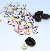 """Бусина круглая с буквой """"Z"""" Английский алфавит 7мм"""