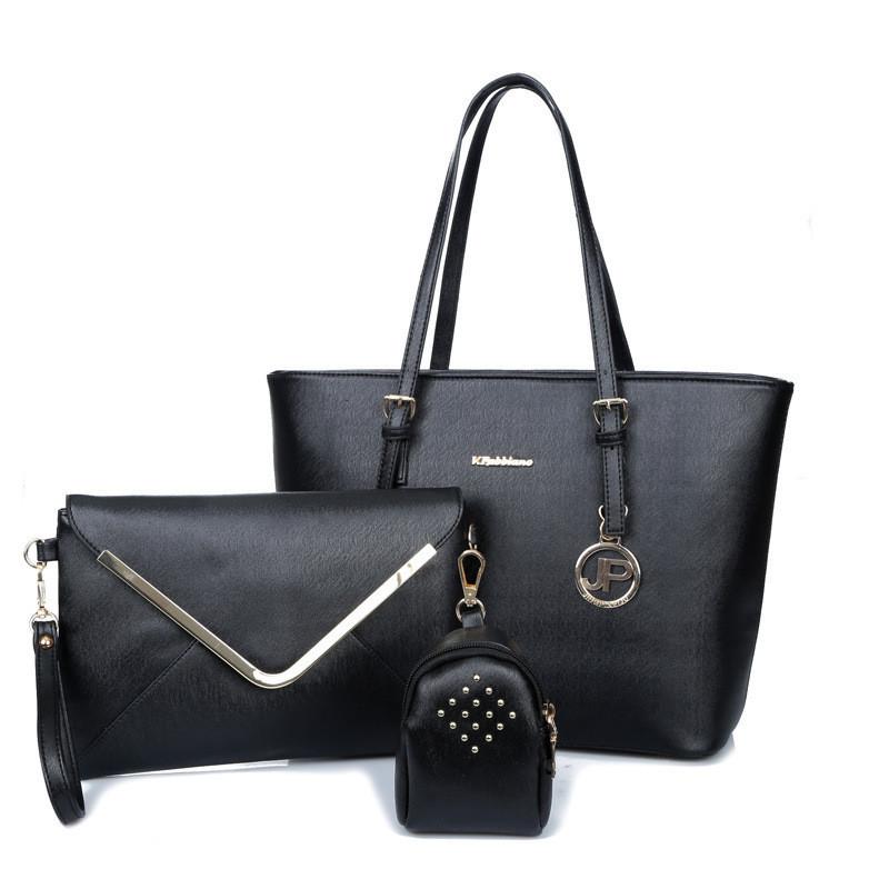 Женская сумка набор 3в1 черный из экокожи опт