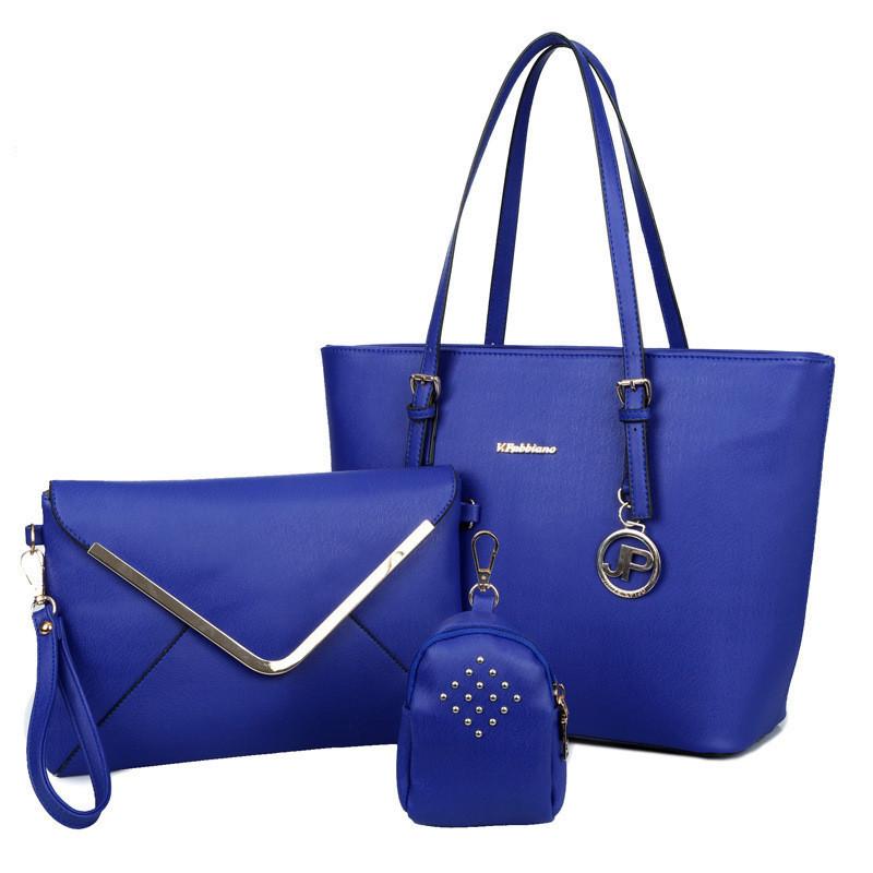Женская сумка набор 3в1 синий из экокожи