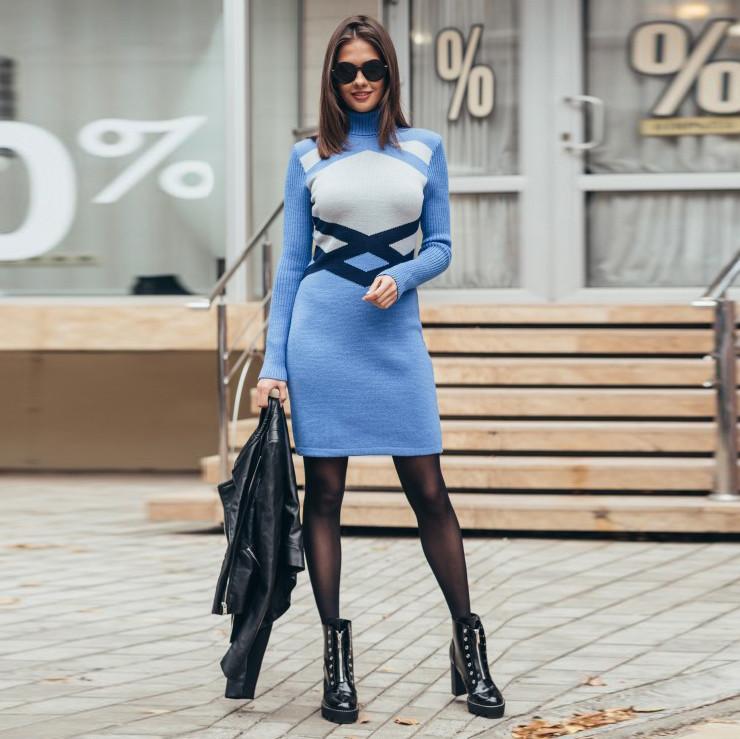 Вязаное женские платье Катерина светло голубое