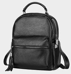 Женский рюкзак черный из натуральной кожи опт