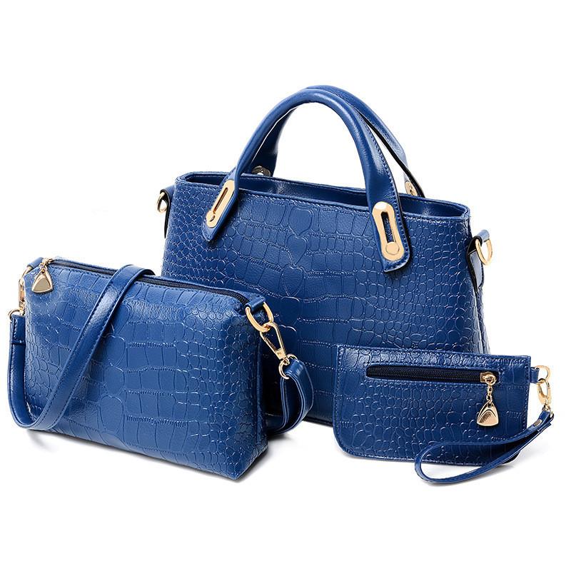 Женская сумка набор 3в1 из экокожи синий