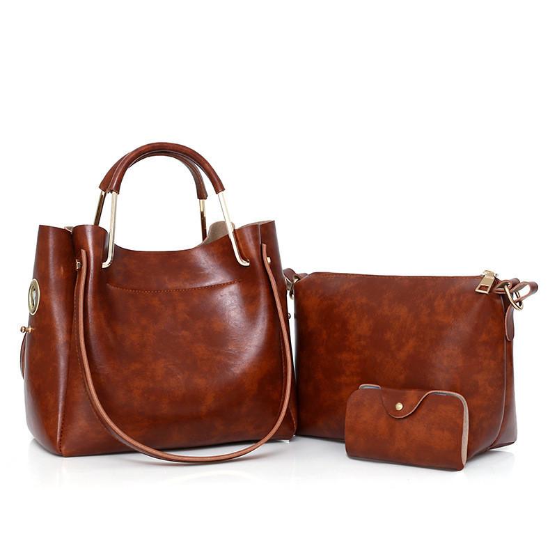 Женская сумка 3 в 1 среднего размера коричневая из экокожи