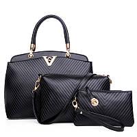 Женская сумка набор 3в1 черный из качественной экокожи