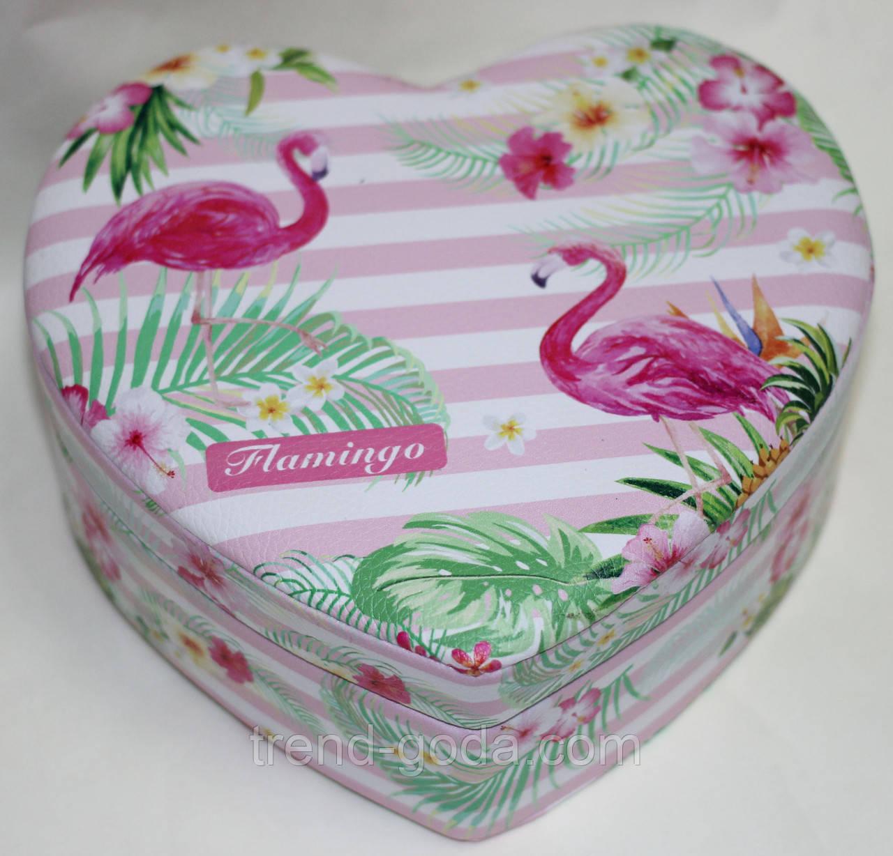 Шкатулка в форме сердца, бело-розовая, Фламинго