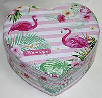 Шкатулка в форме сердца, бело-розовая, Фламинго, фото 1
