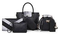 Женская сумка набор 6в1 черный из экокожи
