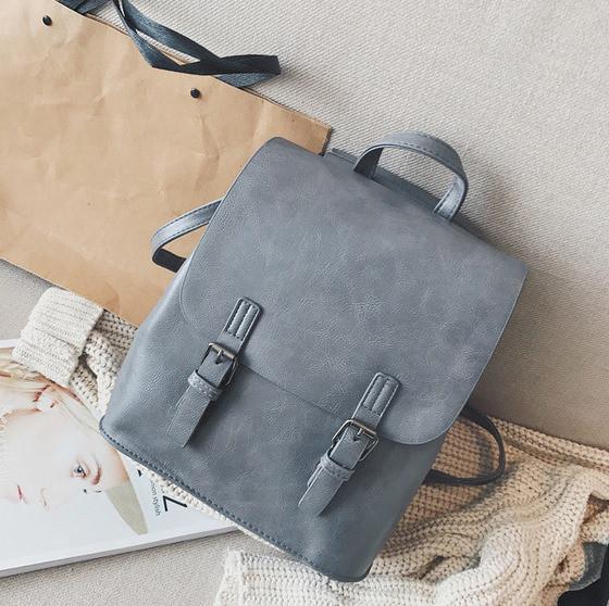 Женский рюкзак-сумка из качественной экокожи серый опт