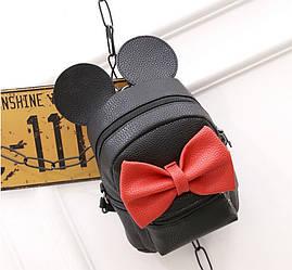 Женский рюкзак маленький черный с бантиком из экокожи
