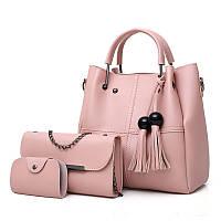 Набор женских сумок 3в1 с косточками розовый из качественной экокожи