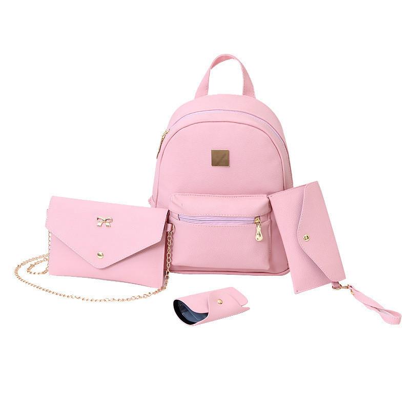 Женский рюкзак розовый набор 4в1 из экокожи опт