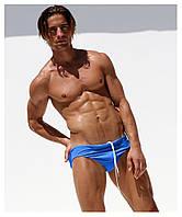 Синие мужские купальные плавки с заниженой талией Aqux. Артикул: PL23