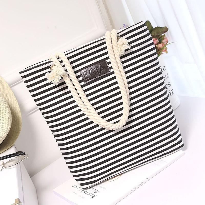 Женская сумка пляжная тканевая в черную полоску, фото 1