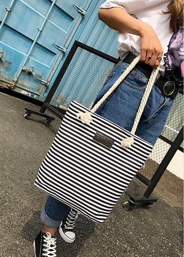Женская сумка пляжная тканевая в черную полоску, фото 7