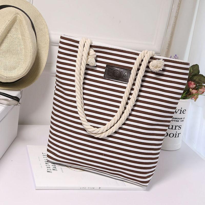 Женская сумка пляжная тканевая в коричневую полоску