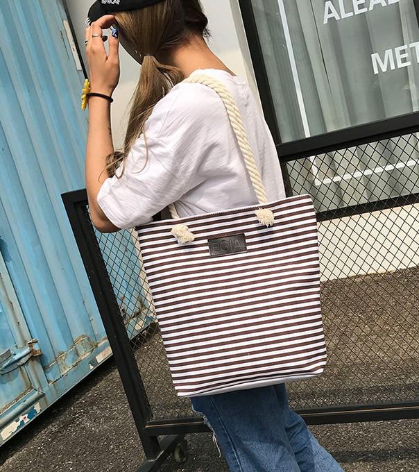 Женская сумка пляжная тканевая в коричневую полоску, фото 7