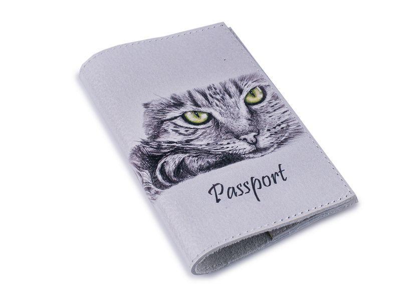Шкіряна обкладинка для паспорта -Кішечка-