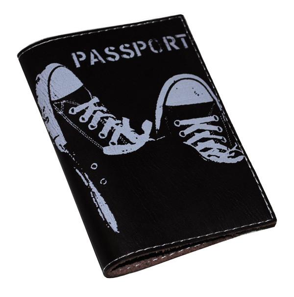 Кожаная обложка для паспорта -Кеды-