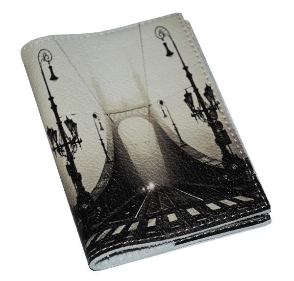 Шкіряна обкладинка для паспорта/закордонного паспорта -Міст в тумані-