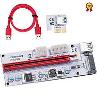 Райзер 008S PCI-E 1X to 16X - 6pin / 4pin (Molex) / Sata