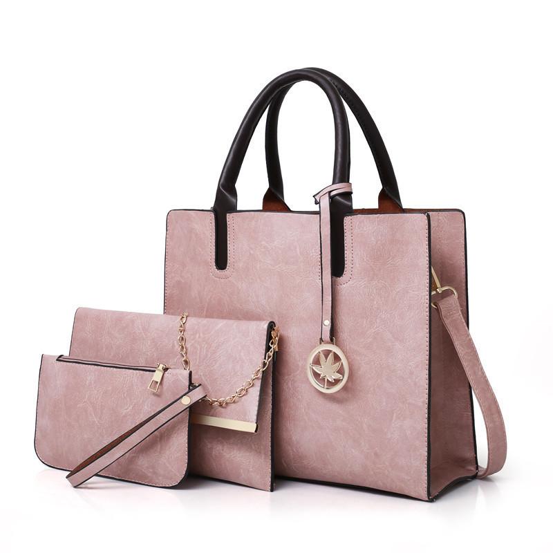 Женская сумка из экокожи набор 3в1 с брелочком розовый
