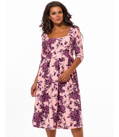 a509f69c309 Купить Джинсовое платье миди с цветочным принтом синий 823540 ...