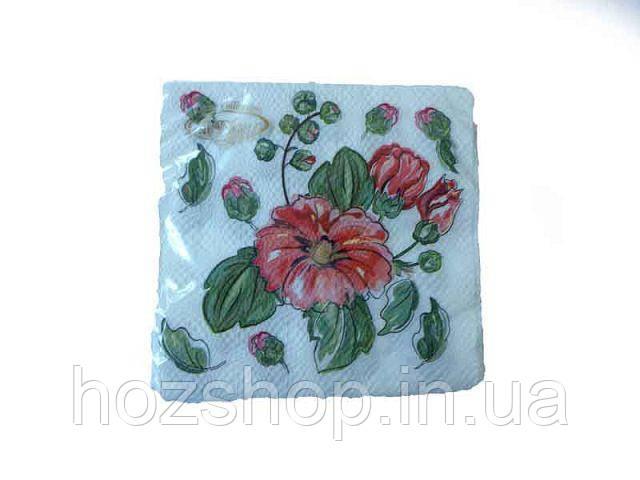 Салфетки столовые (ЗЗхЗЗ, 20шт)  La Fleur  Цветок акварелью (308) (1 пач)