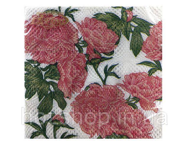 Салфетки столовые (ЗЗхЗЗ, 20шт)  La Fleur  Пионы (015) (1 пач)