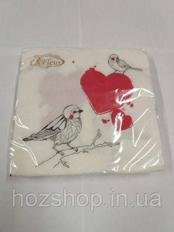 Салфетки столовые (ЗЗхЗЗ, 20шт) La Fleur  Влюбленые Птички 996 (1 пач)