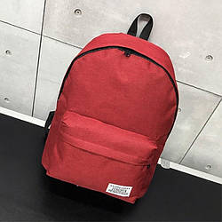 Женский рюкзак красный тканевый вместительный