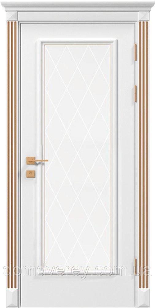 Двери межкомнатные, Родос, Siena, Asti, со стеклом и рисунком, патина
