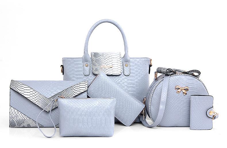 Женская сумка набор 6в1 голубой из экокожи