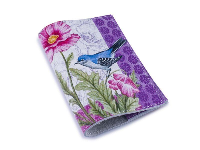 Шкіряна жіноча обкладинка для паспорта -Синя птиця-