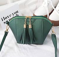 Женская сумочка маленькая зеленая через плечо с кисточками