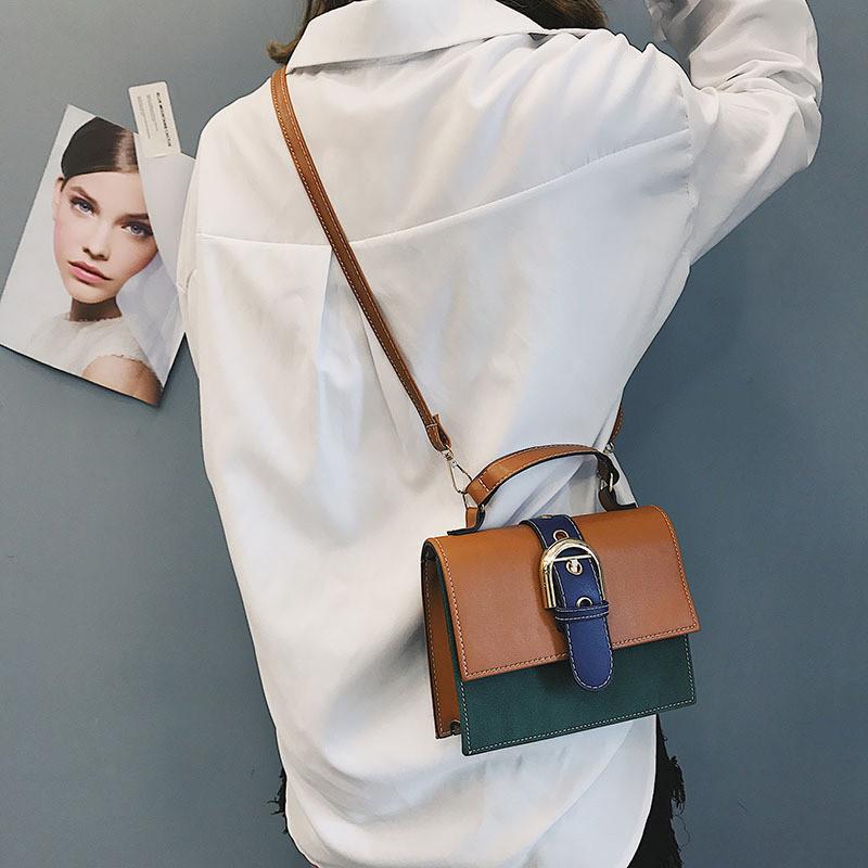 Женская сумочка маленькая через плечо коричневая из экокожи